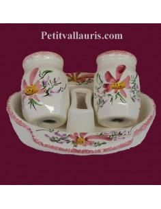 Ensemble salière et poivrière en faïence décor Fleur rose