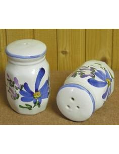 Salière et poivrière décor Fleuri bleu