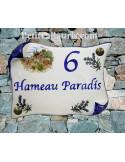 Plaque de Maison parchemin décor cabanon et olivier inscription personnalisée bleue