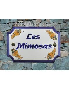 Plaque de Maison en céramique aux angles incurvés motif brins de mimosas + inscription personnalisée