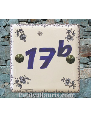 Chiffre sur plaque de maison décor tradition vieux moustiers bleu