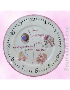 Assiette personnalisée de naissance fille avec photo en porcelaine