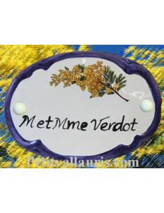 Plaque de porte en faience blanche modèle ovale décor brin de mimosas avec inscription personnalisée