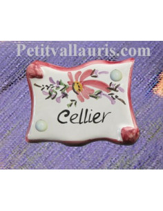 "Plaque de porte parchemin rose ""Cellier"""