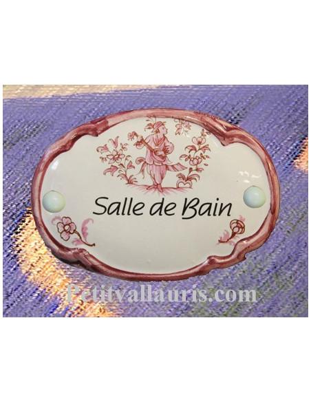 Plaque de porte modèle ovale décor tradition vieux rose avec inscription Salle de Bain