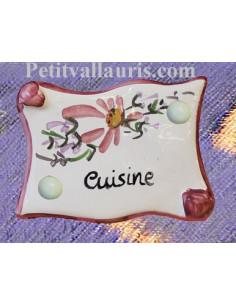 """Plaque de porte parchemin rose """"Cuisine"""""""