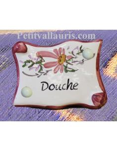 """Plaque de porte parchemin rose """"Douche"""""""