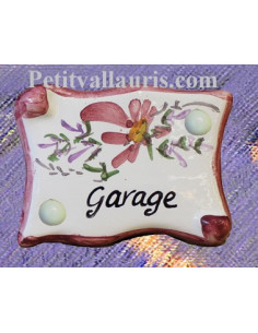 "Plaque de porte parchemin rose ""Garage"""