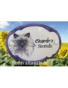 Plaque de porte décor Chat numéro 4 bord bleu