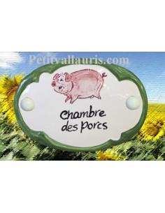 Plaque de porte décor Chambre des porcs