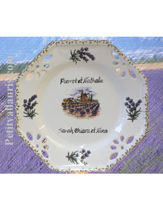 Assiette octogonale ajourée dessert inscription personnalisée