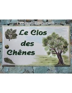 Plaque de Villa rectangle décor et texte personnalisé Le Clos des Chênes