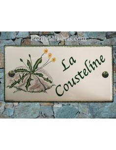 Plaque de maison en faïence décor Cousteline