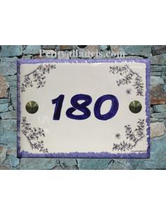 Plaque de maison rectangle décor Fleur de Tradition Vieux Moustiers bleu