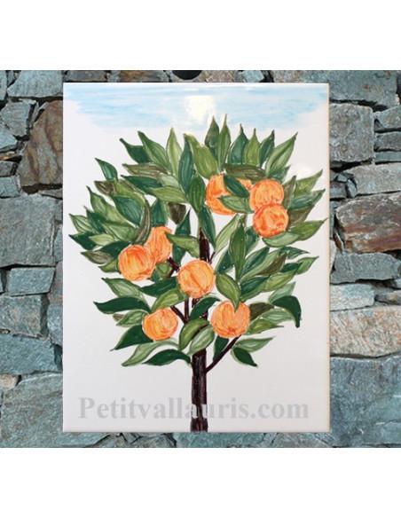 Plaque de maison en céramique émaillée motif artisanal Oranger + inscription personnalisée