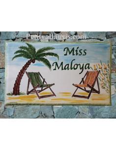 Plaque pour pavillon en céramique forme rectangle décor artisanal décor Bain de soleil et Palmiers