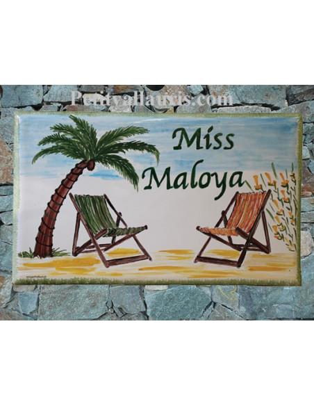 Plaque de maison en céramique décor Bain de soleil et Palmiers