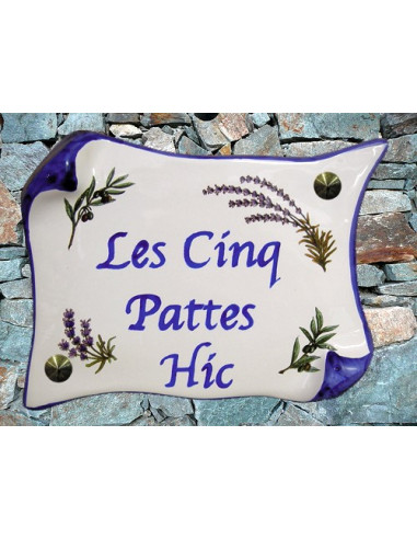 Plaque de Maison parchemin décor brins de lavandes et d'oliviers inscription personnalisée bleue