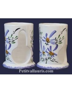 Distributeur de coton petit modèle décor Fleuri bleu
