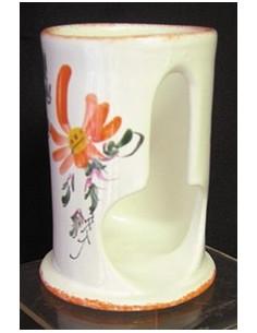 Distributeur de coton petit modèle décor Fleuri orange