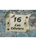 Plaque de Maison parchemin décor brins d'olives, lavandes et cigale en relief inscription personnalisée verte