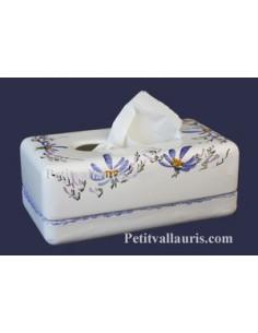 Boîte à mouchoirs papier décor Fleuri bleu