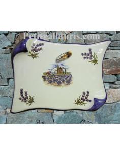 Plaque de Maison parchemin décor moulin ,brins de lavandes et cigale en relief inscription personnalisée bleue