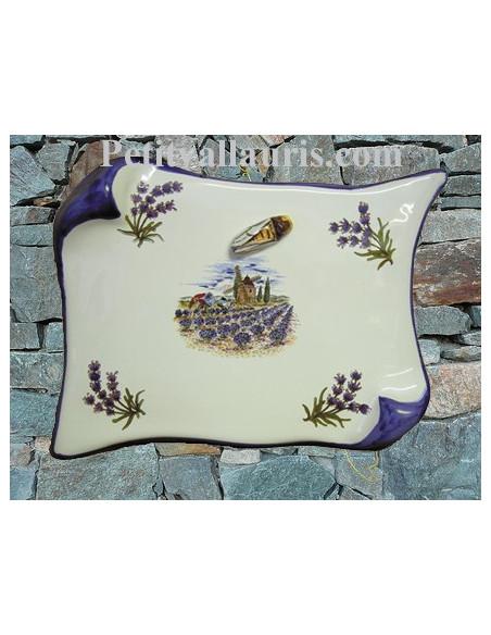 Plaque de Maison décorative modèle parchemin décor moulin ,brins de lavandes et cigale en relief