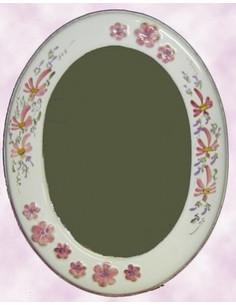 Miroir ovale décor Fleuri rose et Fleur en relief