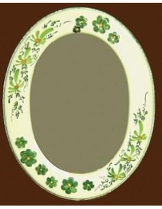 Miroir ovale décor Fleuri vert et Fleur en relief