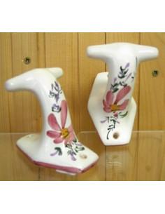 Patère / Porte manteau classique décor Fleuri rose (l'unité)