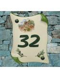 Plaque de Maison parchemin pose verticale décor cabanon et olivier inscription personnalisée verte
