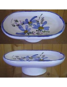Porte savon modèle Anneau décor Fleur bleue