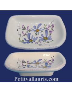 Porte savon modèle Annie décor Fleur bleue
