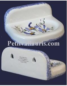 Porte savon modèle mural décor Fleur bleue