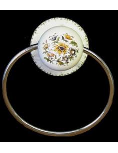 Porte serviette mural décor Fleuri Moustiers (anneau métal)