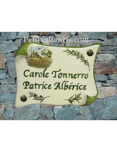 Plaque de Maison parchemin décor cabanon,champs de coquelicots et brins d'olivier inscription personnalisée verte