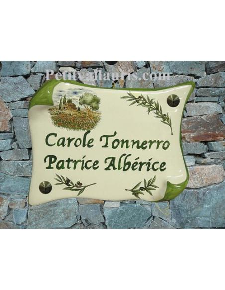 Plaque de Maison en faience modèle parchemin motif cabanon,champs de coquelicots+ inscription personnalisée verte