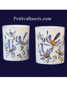 Porte crayon et maquillage décor Fleuri bleu