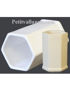 Tube-pot hexagonal décor émaillé uni blanc