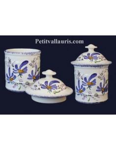Pot de Salle de bain modèle Uho n°1 Décor Fleuri bleu