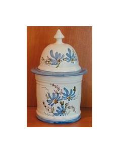Pot de Salle de bain Taille 1 décor Fleuri bleu