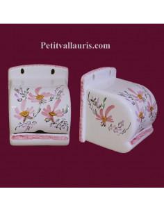 Dérouleur de papier toilette décor fleuri rose