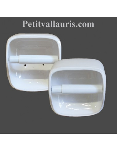 Dérouleur de papier toilette émaillé uni blanc NM
