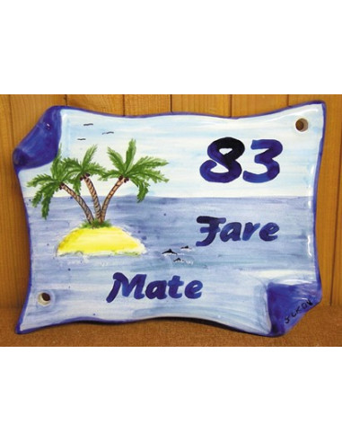 Plaque de Maison parchemin décor personnalisé ilot et cocotiers inscription bleue