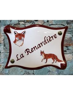 Plaque pour maison en céramique décor personnalisé renards