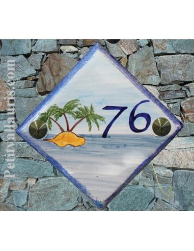 Numéro de maison décor ilot avec palmier pose diagonale