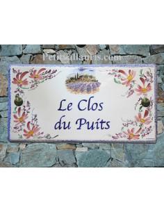 Grande Plaque de Maison rectangulaire en céramique décor fleurs roses et paysage provençal + personnalisation