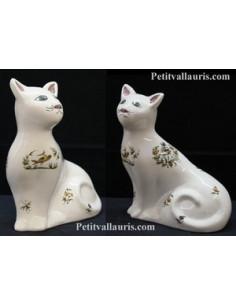 Chat céramique modèle Mistigri décor Tradition Vieux Moustiers polychrome