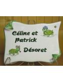 Plaque de Maison parchemin décor personnalisé tortues inscription verte